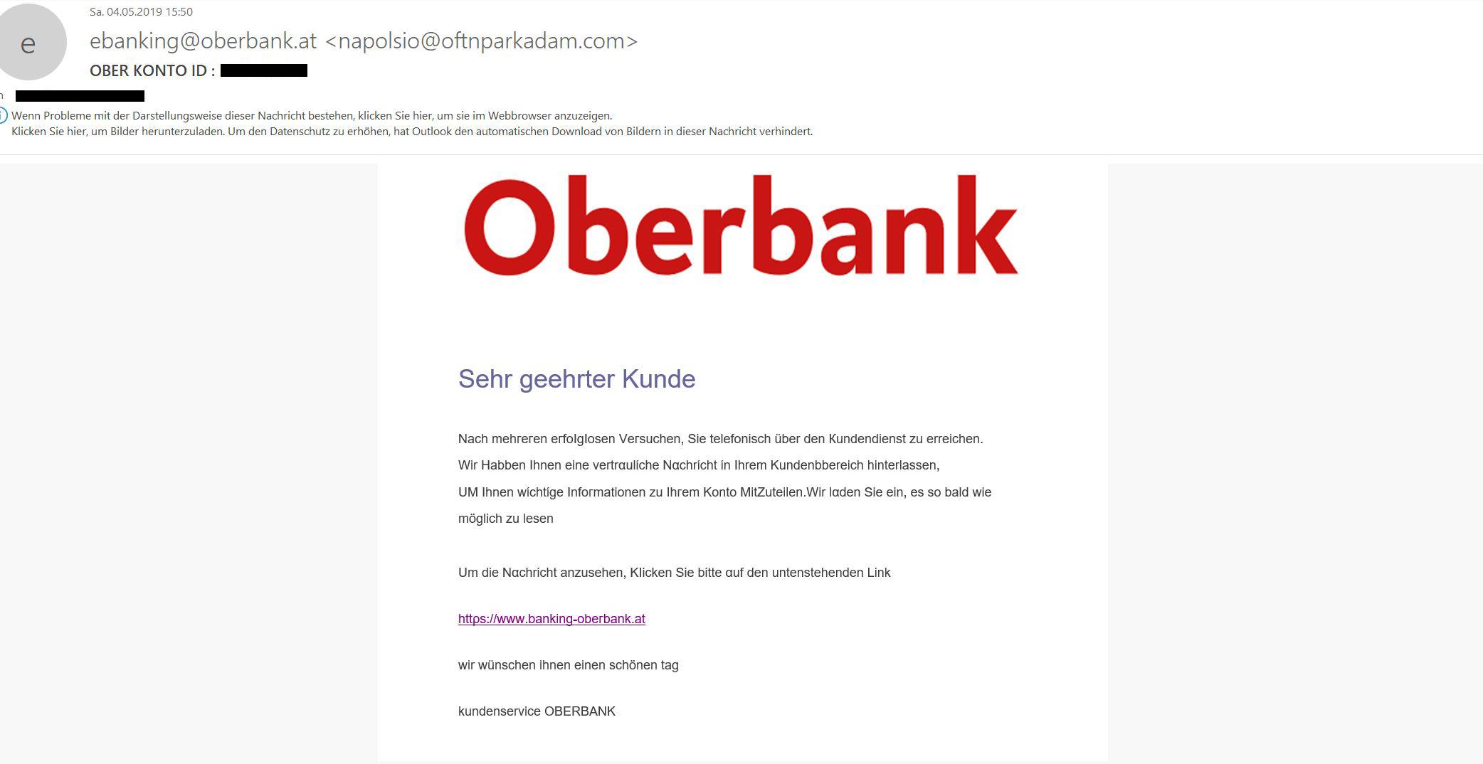Oberbank Vorsicht Vor Aktuellen Phishing Mails Direktbanken Vergleich At